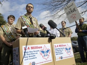 Eagle Scouts deliver petitions to BSA Headquarters. (Courtesy AP)