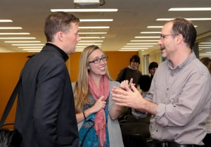 Matthew Desmond (left), Katie Jensen (center), and Javier Auyero (right) sharing some final thoughts at the conference's concusion