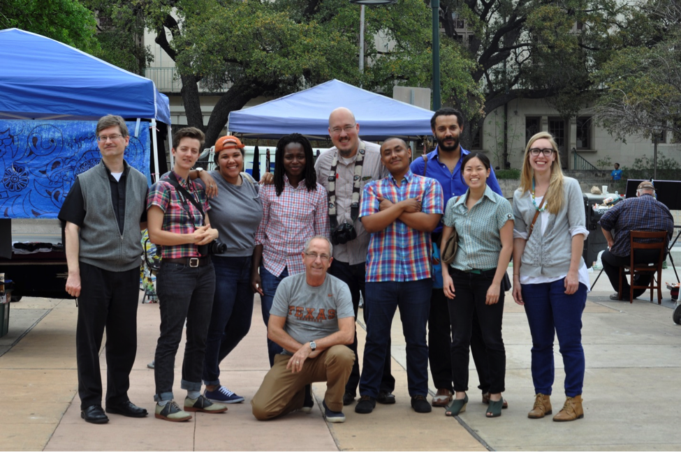 From left to right: Paul Kasun, Emily Paine, Shantel Buggs, Anima Adjepong, Amias Maldonado, Eric Borja, Professor Ben Carrington, Vivian Shaw, and Katie Jensen.  Front: Professor Max Farrar