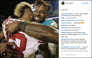 An image (with comments) posted on Odell Beckham, Jr.'s Instagram page. The photo features Beckham hugging close friend and Miami Dolphins wide receiver Jarvis Landry after a game.