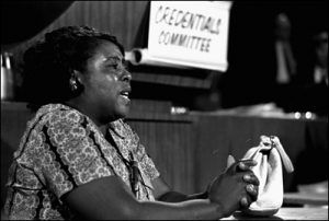 Fanny Lou Hamer, a leader of the Freedom Democratic party, speaks before the credentials committee of the Democratic national convention in Atlantic City, August 22, 1964, in efforts to win accreditation for the group as Mississippi's delegation to the convention. The Freedom group, composed almost entirely of Negroes, is opposed by the regular all-white Mississippi delegation.(AP Photo/stf)