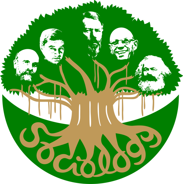 cartoon of thinkers' heads as tree leaves connected together through the tree roots
